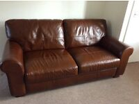 Large 3 seater Tan leather sofa