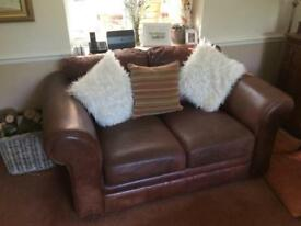 Real leather two seater sofa