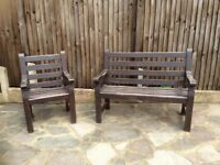 ‼️HEAVY WOODEN GARDEN BENCH AND MATCHING CHAIR STUNNING QUALITY ‼️