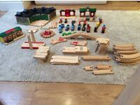 Brio Road and Rail Train set, large engine shed, stations, engines, track and roads