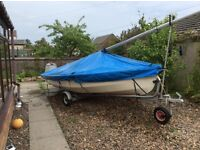 Wayfarer sailing dinghy,Road trailer,and trolley