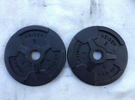 4 x 5lb (2.2kg) Weider v2 Standard Cast Iron Weights