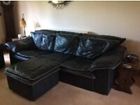 REDUCED PRICE - 3 Seater & 2 Seater leather sofas with matching poof