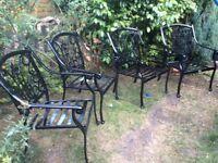 Large cast aluminium garden chairs