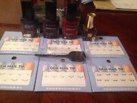 Bundle joblot nail gems tips 4 nail varnish small Estée Lauder maroon nail tryed Avon tryed