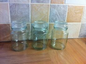 Set of 3. Airtight Glass Storage Jars