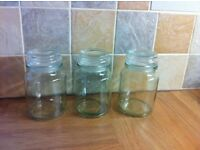 Set of 3. Airtight Glass Storage Jars