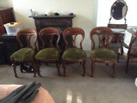 Mahogany Wood Frame Victorian Antique Green Velvet Balloon Back Chairs 4 In Total