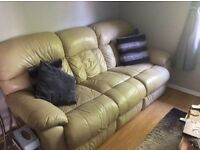 Cream leather 2 and 3 seater recliner sofas