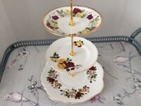 Bone China 3 Tier Cake Stand. Red & Yellow Floral.