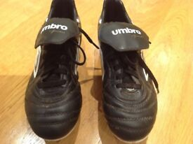 Football Boots, Leather, Size 4, Metal Studs, Umbro