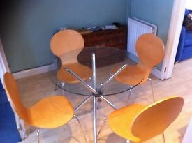 Round Glass Table and 4 Wooden Chairs