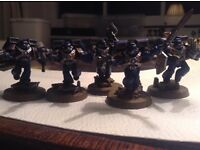 Warhammer 40k Space marine, Tactical Squad, Assault Squad, Centurion Devastator Squad and chaplin.