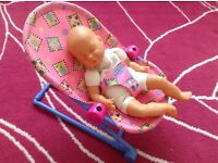Baby doll's highchair, play arch, bouncer chair & play washing machine