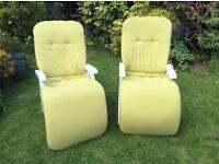 Multi positional sun loungers with cushions