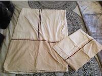 Cream, brown and white single bedding set