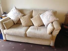 Two seater sofa and armchair cream vgc