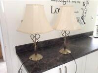 Beautiful table lamps cream shades fully lined