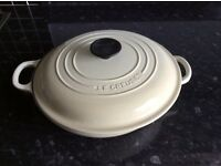 Le creuset large shallow casserole pan in cream