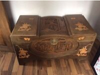 """Henderson &Co"" Chinese hand art carved Solid wood Chest"