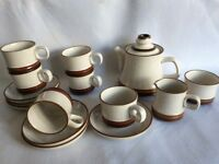 Denby brown and cream tea service
