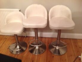 3 X leather and chrome effect adjustable bar stools