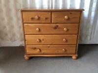 PINE 5 DRAWER CHEST OF DRAWERS / PINE 2 OVER 3 CHEST