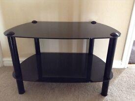 Black glass 2 tier TV stand