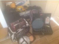 camping gear-tent, hookup, coleman stove, tefal pans, rubber dinghy, beds, crockery, cutlery, bags.