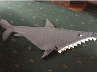 Shark lap blanket, hand knitted to fit 10 - 14 year old