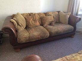 Real leather and fabric sofa
