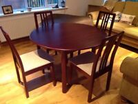 Round Extending Mahogany Dining Table and 4 Chairs