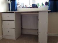 White desk with bookshelf