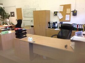 As-new, complete office of light-oak office furniture -