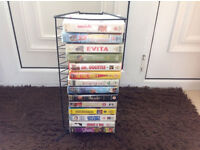 14 x VHS Video Tapes Job Lot & Stand (Fawlty Towers, Wizard Of Oz, Babe)