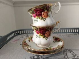 Royal Albert Bone China 2 Coffee Cups and Saucers. Old Country Roses.