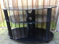Black Oval Glass TV Stand