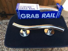 "Grab rails, two stainless steel, curved, length 350mm or 14"" new and boxed"