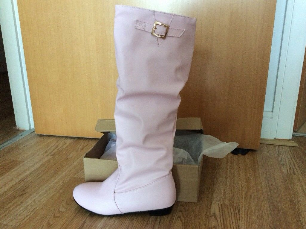 cd5224ea740 Ladies PINK knee high boots small size 5 chunky heel slouchy fit brand new  never worn in box