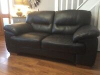 Black real leather two seater sofa settee