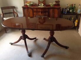 Extending Double Pedestal Mahogany Dining Table