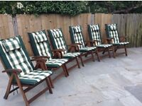 6 Teak Royal Craft Garden Chairs With Cushions