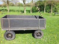 HEAVY DUTY PLATFORM TROLLEY WITH REMOVABLE SIDES QUAD ATV TRAILER GARDEN STABLE FARM 4 WHEEL CART