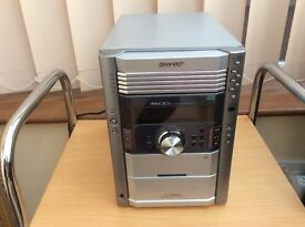 Sharp 5 cd changer and cassette player with speakers