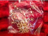 XLarge, crystal, diamanté bridal, party GOLD hair comb