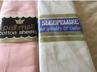 NEW - TWO SETS - COTTON - DOUBLE - FLAT - SHEETS - ONE SET (2) WHITE AND ONE SET (2) PINK