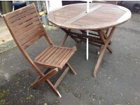 Wooden patio table & chairs & umbrella