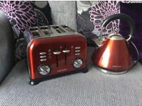 Morphy Richards red kettle and toaster