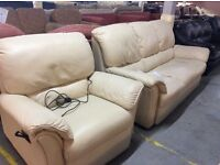 Cream leather sofa with electric recliner chair
