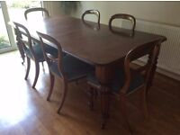 Antique mahogany dining table & 6 chairs
